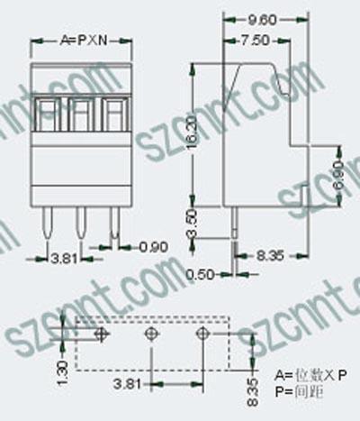 ertb1-3.81-h印刷线路板双层接线端子