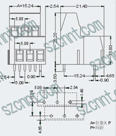 5-5.08印刷线路板双层接线端子