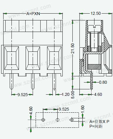 ertb5-9.525印刷线路板接线端子